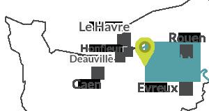 Carte de localisation de Beuzeville en Normandie